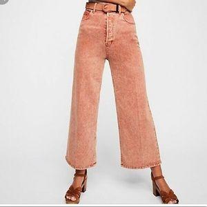 Free People Wales Wide Leg Cropped Jeans